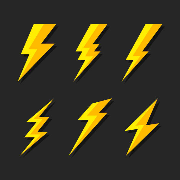 Thunder and Bolt Lighting Flash Icons Set. Flat Style on Dark Background. Vector Thunder and Bolt Lighting Flash Icons Set. Flat Style on Dark Background. Vector illustration thunderstorm stock illustrations