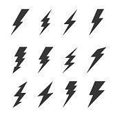 Thunder and Bolt Lighting Flash Icons Set. Vector illustration