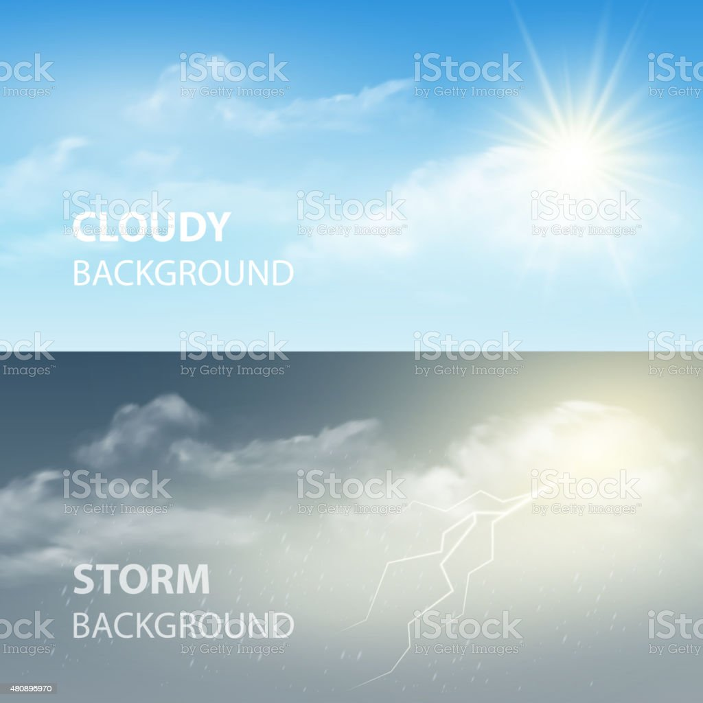 Thunder and lightning, sun and clouds. Weather background. Vector illustration vector art illustration
