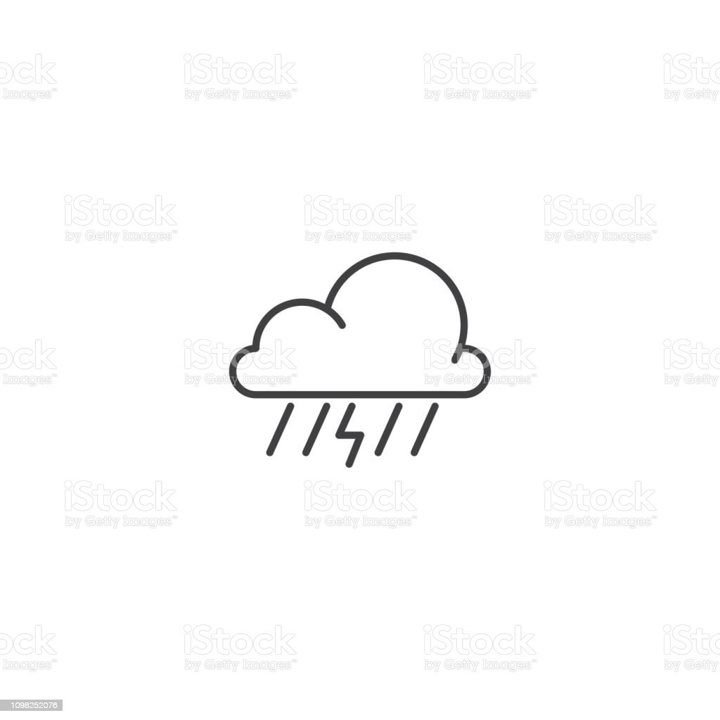 thunder and rain cloud line icon vector stock illustration download image now istock thunder and rain cloud line icon vector stock illustration download image now istock