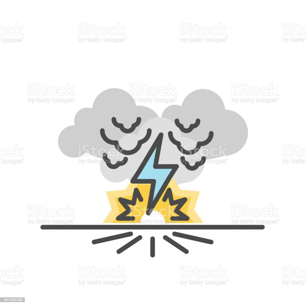 thunder bolt lighting flash vector illustration of flat and thin