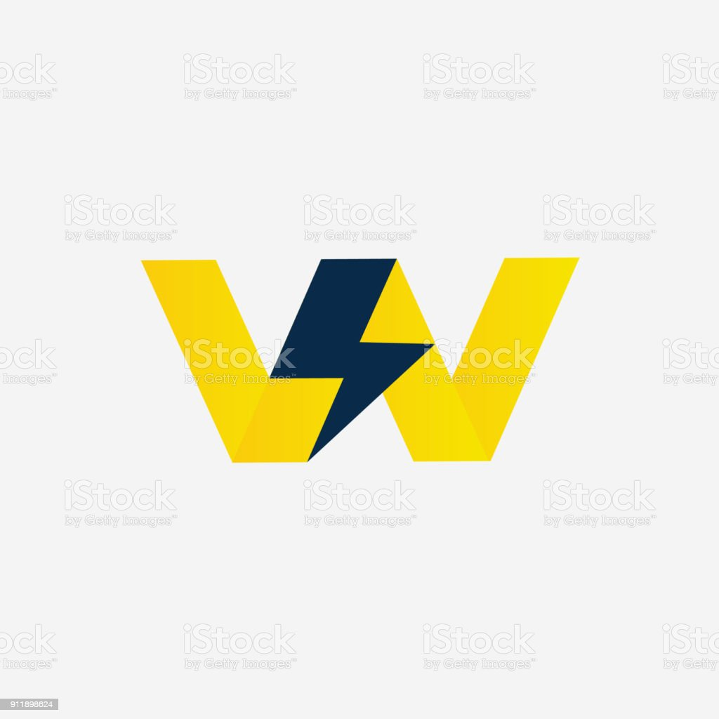 Thunder bolt with Letter W Vector company Symbol. Thunderstorm Vector Illustration Icon concept. Monogram W vector art illustration