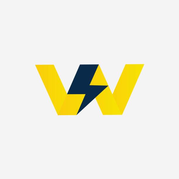 donner-schraube mit buchstabe w vektor unternehmen symbol. gewitter-vektor-illustration-icon-konzept. monogramm w - autorität stock-grafiken, -clipart, -cartoons und -symbole