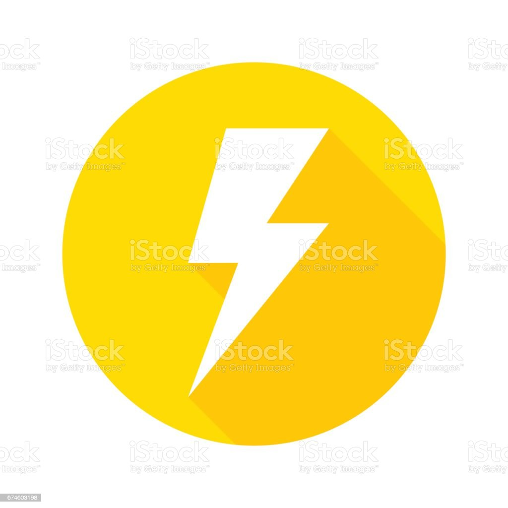 Thunder icon flat design vector vector art illustration