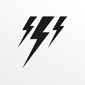 Thunder icon. Lightning sign. Vector illustration.