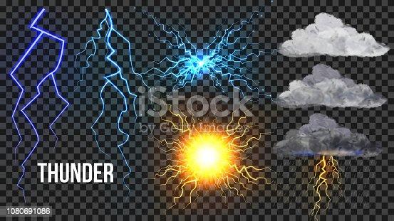 Thunder, Lightnigs Set Vector. Bolt, Night Sky Magic Bright Sparkle Effect. Fireball, Rain, Cloudy. Bad Weather Thunderbolt. Danger Electricity Blast Storm. Isolated Transparent Illustration