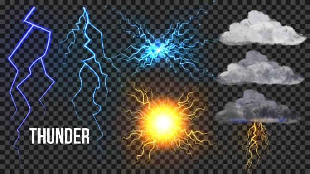 Thunder, Lightnigs Set Vector. Bolt, Night Sky Magic Bright Sparkle Effect. Fireball, Rain, Cloudy. Bad Weather Thunderbolt. Danger Electricity Blast Storm. Realistic Isolated Transparent Illustration Thunder, Lightnigs Set Vector. Bolt, Night Sky Magic Bright Sparkle Effect. Fireball, Rain, Cloudy. Bad Weather Thunderbolt. Danger Electricity Blast Storm. Isolated Transparent Illustration thunderstorm stock illustrations