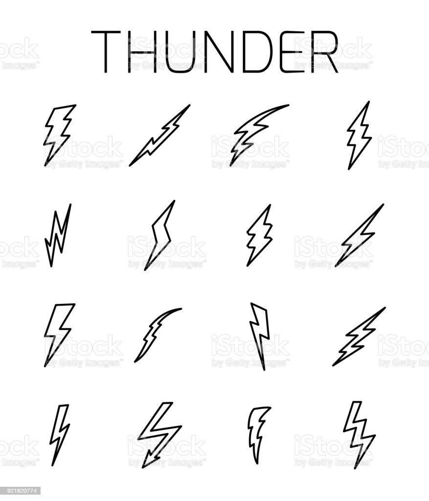 Thunder related vector icon set. - illustrazione arte vettoriale