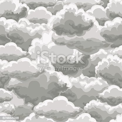 Thunder sky seamless pattern. Rain clouds background vector illustration