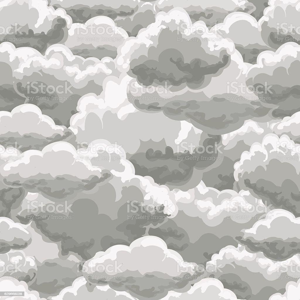 Thunder sky seamless pattern vector art illustration