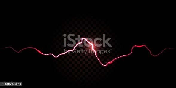 Thunder spark, electric red flash vector background. Electricity thunderbolt spark abstract effect background