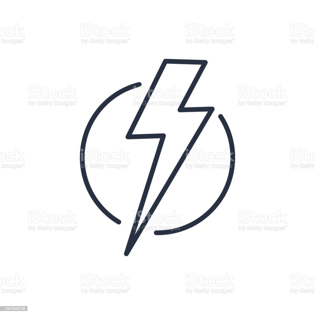 Thunder Strike In Circle Line Icon Stock Illustration