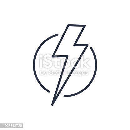 istock Thunder strike in circle line icon 1007848726
