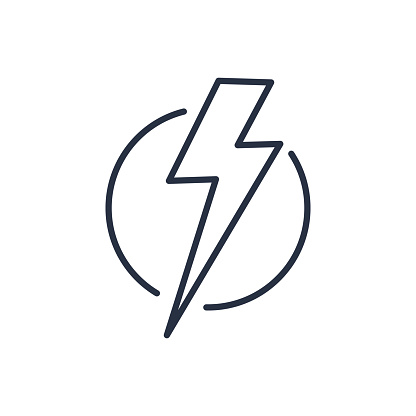 Thunder strike in circle line icon