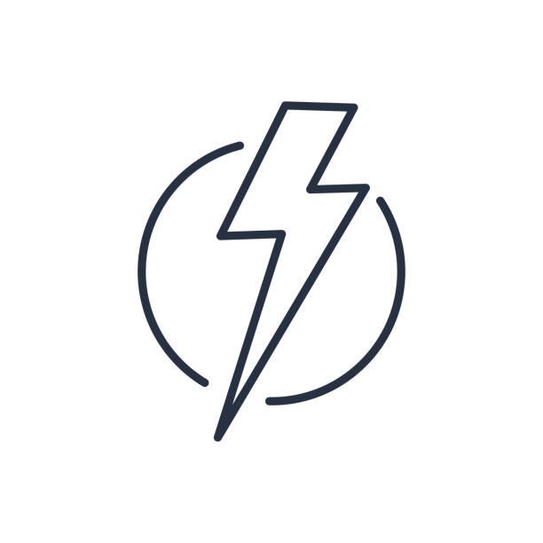 illustrazioni stock, clip art, cartoni animati e icone di tendenza di thunder strike in circle line icon - fulmine