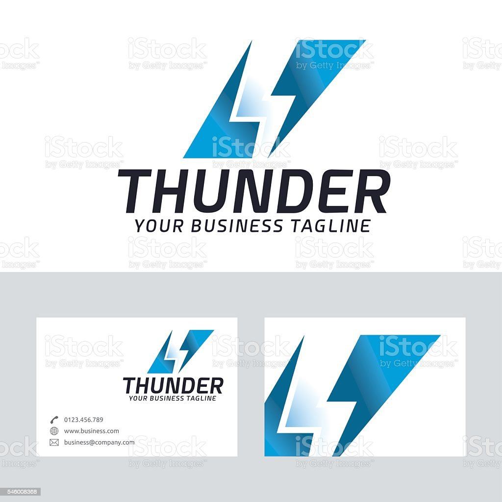Thunder vector logo vector art illustration