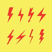 Thunderbolt signs on yellow background , Flash icon
