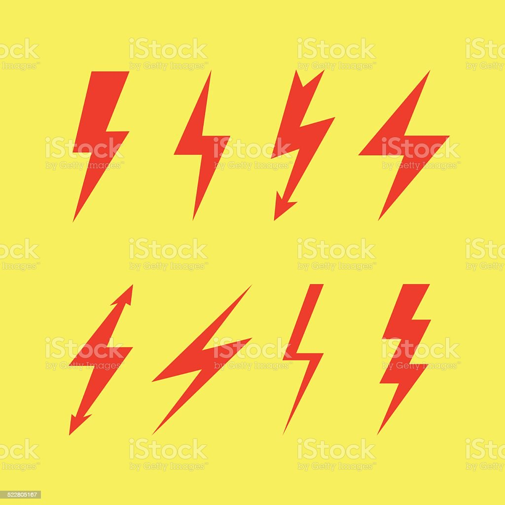 Thunderbolt signs , Flash icon vector art illustration