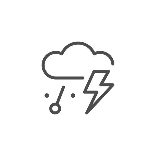 illustrazioni stock, clip art, cartoni animati e icone di tendenza di thunderstorm and hail line icon - grandine