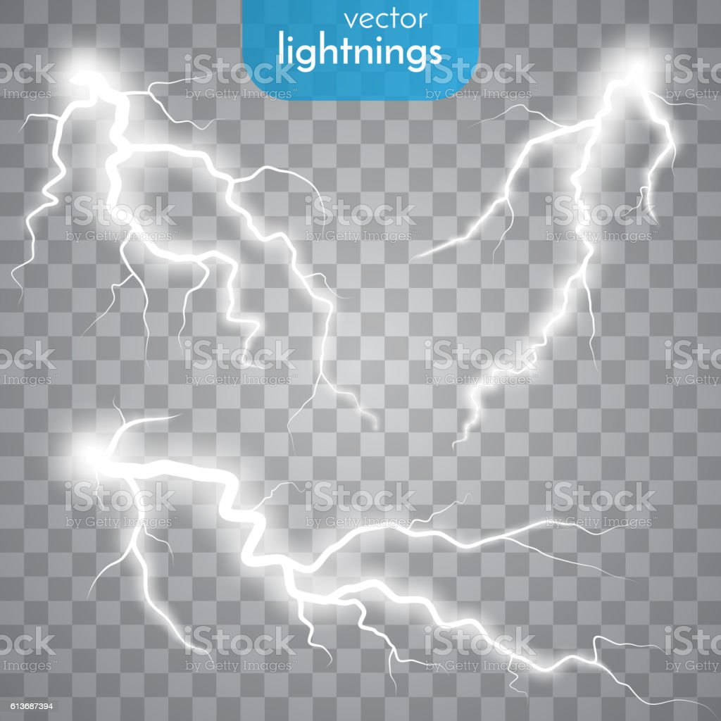Thunder-storm and lightnings vector art illustration