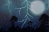 A Thunderstorm and Rain Night illustration