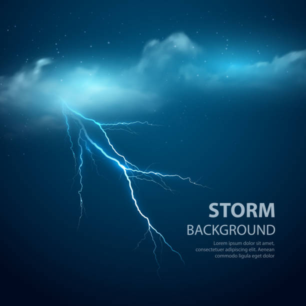 Thunderstorm Background With Cloud and Lightning, Vector Illustration. Thunderstorm Background With Cloud and Lightning, Vector Illustration. EPS 10 forked lightning stock illustrations