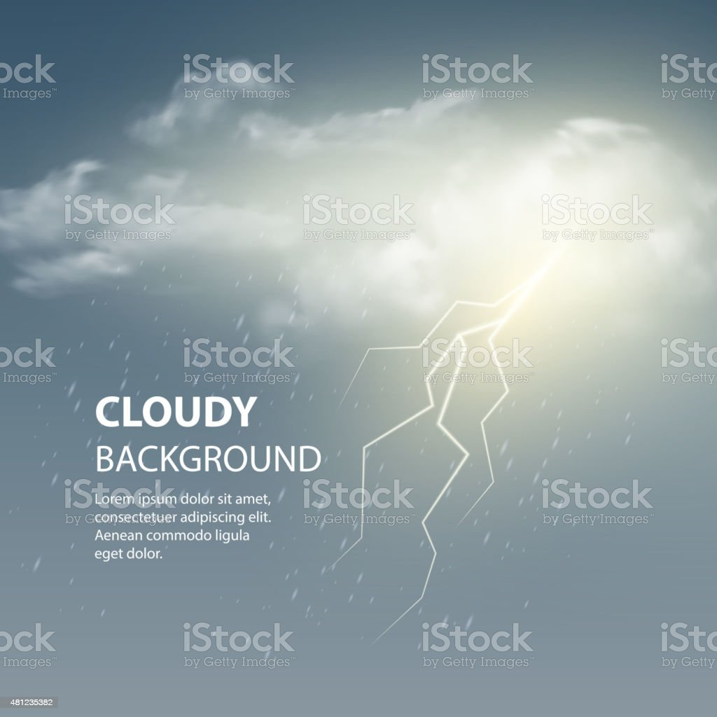 Thunderstorm Background With Cloud and Lightning, Vector Illustration. vector art illustration