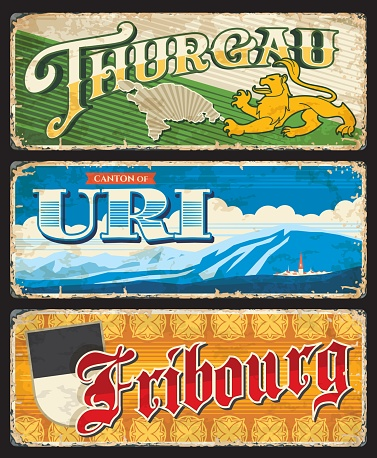 Thurgau, Uri and Fribourg Swiss cantons tin signs