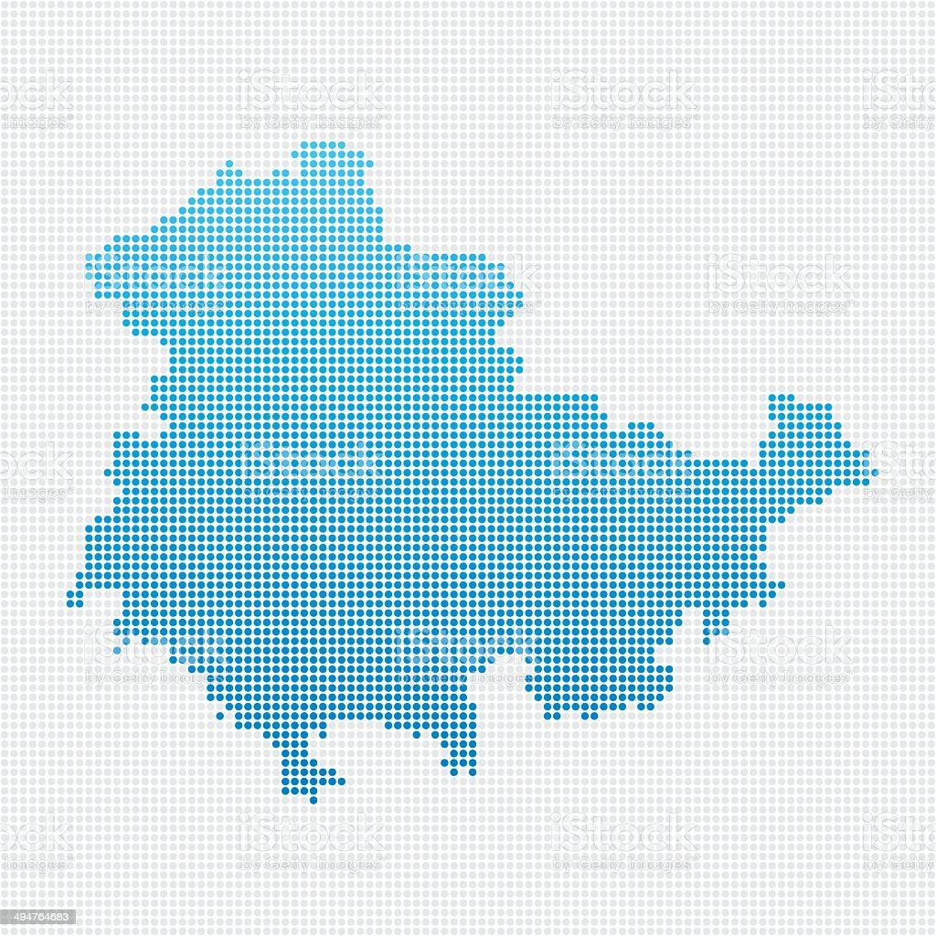 Thuringia Map Blue Dot Pattern vector art illustration