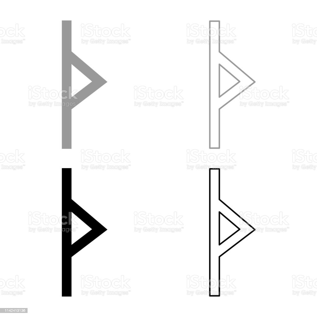 Thurisaz rune Tpurizas Tor Thorn icon set grey black color illustration outline flat style simple image