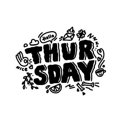 Thursday doodle inspiration quote. Sketch cart on calendar,cafe,promotion,banner, email newsletter, logo.Thursday with doodle cute image isolated on white background with text.