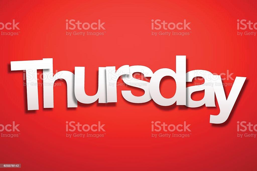 Thursday Sign with Red Background - Paper Font thursday sign with red background paper font - arte vetorial de stock e mais imagens de branco royalty-free