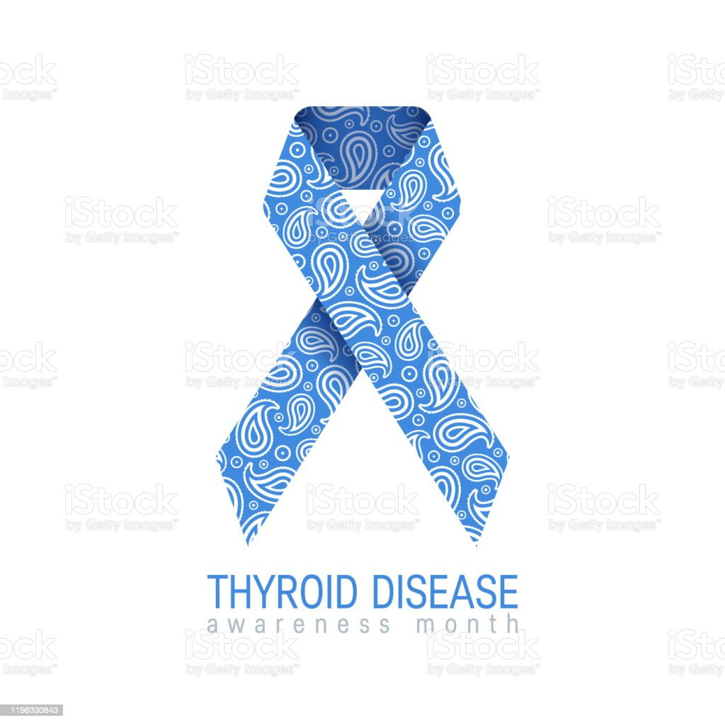 Thyroid Awareness Paisley Ribbon In Flat Style Stock Illustration