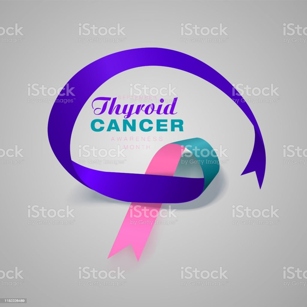 Thyroid Cancer Awareness Calligraphy Poster Design Realistic Teal
