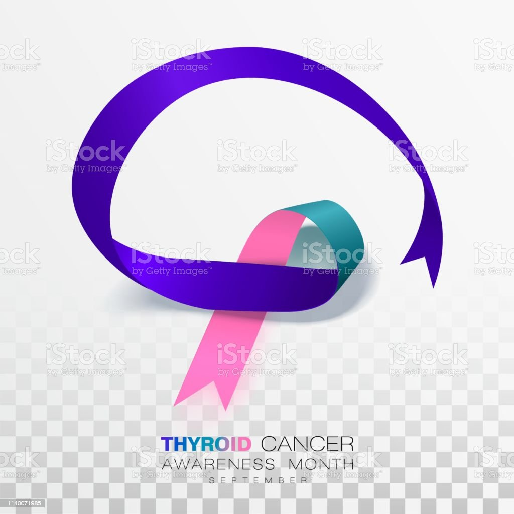 Thyroid Cancer Awareness Month Teal And Pink And Blue Color Ribbon