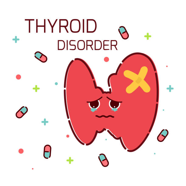 Thyroid gland disorder icon vector art illustration