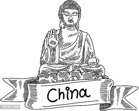 Tian Tan Buddha Drawing Stock Vector Art & More Images of