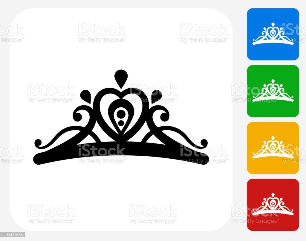 Tiara Icon Flat Graphic Design vector art illustration