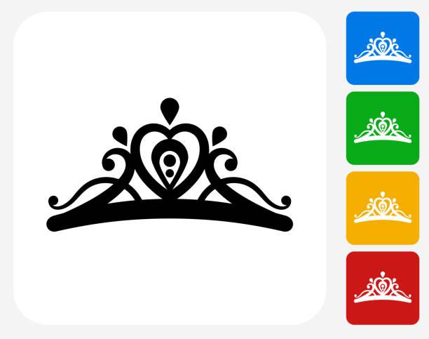 illustrations, cliparts, dessins animés et icônes de tiara icône à la conception graphique - diademe