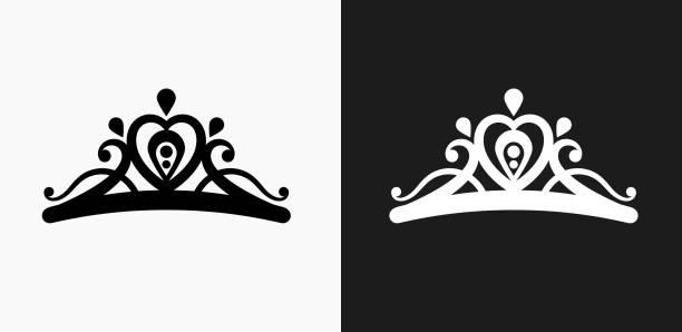 illustrations, cliparts, dessins animés et icônes de tiare icône sur fond de vector noir et blanc - diademe