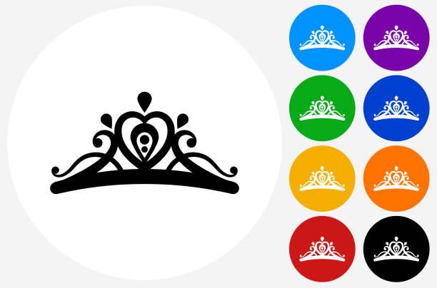 illustrations, cliparts, dessins animés et icônes de tiara icon on flat color circle buttons - diademe