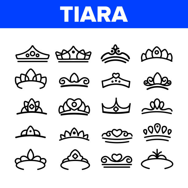 Tiara, Royal Accessory Vector Thin Line Icons Set Tiara, Royal Accessory Vector Thin Line Icons Set. Tiara, Diadem Types Linear Illustrations. Queen Coronation, Princess, Nobility Headwear. Bridal Hair Decoration. Beauty Contest, Miss Award diademe stock illustrations