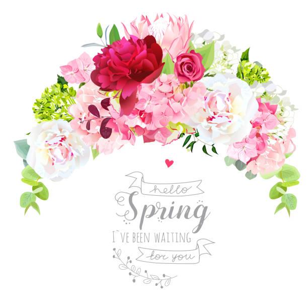 Tiara en forma de ramo de flores elegante - ilustración de arte vectorial