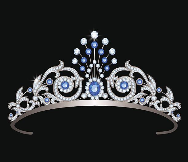 illustrations, cliparts, dessins animés et icônes de tiara with sapphires - diademe