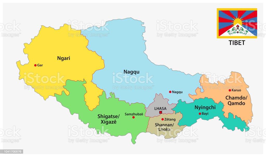 Carte Chine Avec Tibet.Carte Administrative Et Politique De Tibet Avec Indicateur