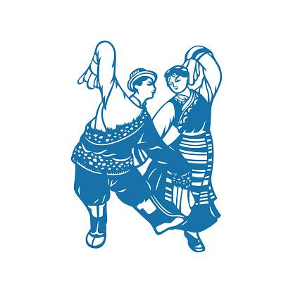 Tibetan couple dancing