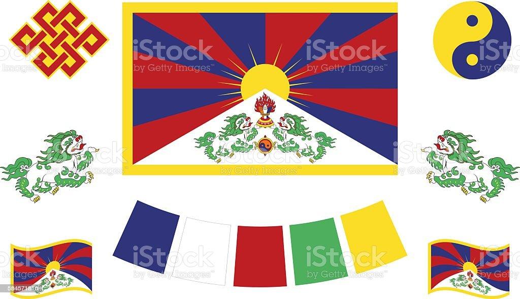 Tibetan flag and symbols vector art illustration