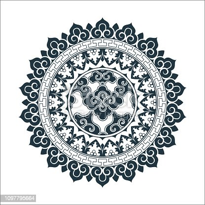 Tibetan pattern Mandala designd. Hand drawn decorative element. Template for yoga classes banners, web site and cards design.