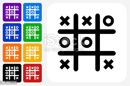 Tic Tac Toe Icon Square Button Set. The icon is in black on a white square with rounded corners. The are eight alternative button options on the left in purple, blue, navy, green, orange, yellow, black and red colors. The icon is in white against these vibrant backgrounds. The illustration is flat and will work well both online and in print.