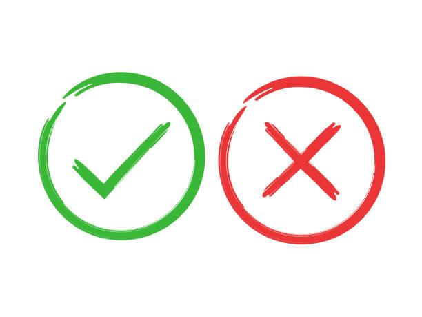 illustrazioni stock, clip art, cartoni animati e icone di tendenza di tick and cross brush signs. green checkmark ok and red x icons, isolated on white background. simple marks graphic design. symbols yes and no button for vote, decision, web. vector illustration. - accuratezza